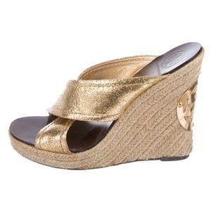 NWT Tory Burch Gold Espadrille Wedges